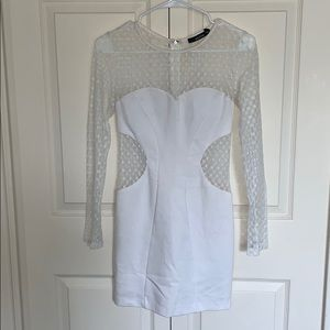 Fitted white cut out dress
